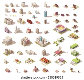 Vector buildings set. Isometric low poly city buildings, rural buildings and houses, industrial structures and elements