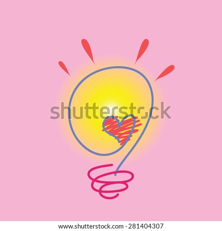 Vector Bulb Stripes Heart Middle Stock Vector Royalty Free