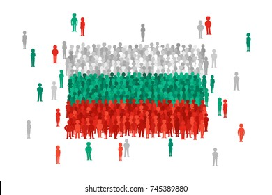 Vector Bulgaria state flag formed by crowd of cartoon people
