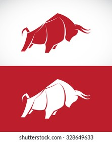 Vector of bull design on white background. Wild Animals, Vector illustration.