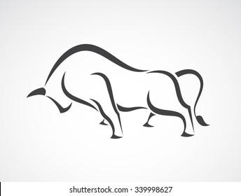 Vector of bull design on white background, Vector bull for your design.