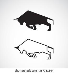 Vector of bull design on white background. Wild Animals, Vector illustration.