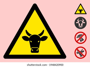 Vector bull flat warning sign. Triangle icon uses black and yellow colors. Symbol style is a flat bull attention sign on a pink background. Icons designed for problem signals, road signs,