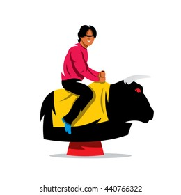 Vector Bull Ride Cartoon Illustration. Man on the mechanical animal simulator. Unusual Logo template isolated on a white background