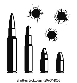 Vector bullet holes set. Violence and crime, gunshot and military, hit and ammunition illustration