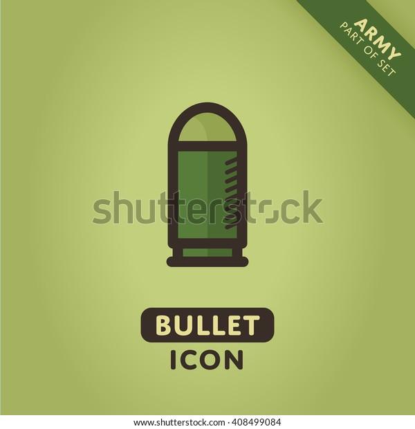 Vector bullet icon. Ammo sign. War symbol.