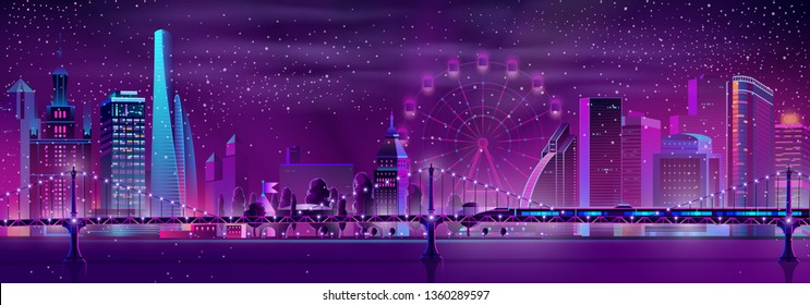 Vector bullet train on bridge over the river and modern megapolis on background. Speed railroad vehicle, Ferris wheel and park in neon glowing colors. Urban skyscrapers in violet colors, town exterior