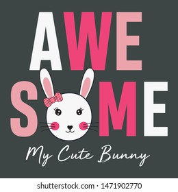 vector bunny awesome for print t shirt girls