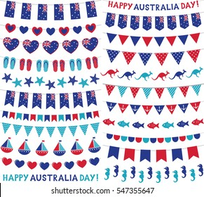 Vector bunting decoration set for Australia Day