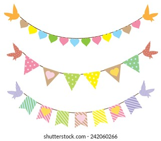 vector bunting with hearts and birds
