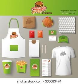 Vector burger bar corporate identity template design set. Branding mock up.