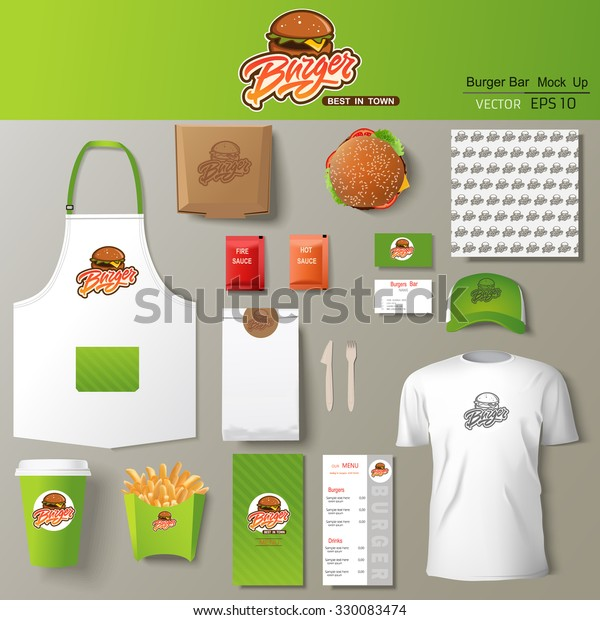 Vector Burger Bar Corporate Identity Template Stock Vector