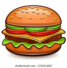 Vector burger isolated cartoon design