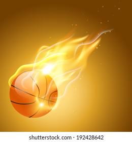 vector burning basketball background  illustration