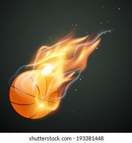 vector burning basketball illustration