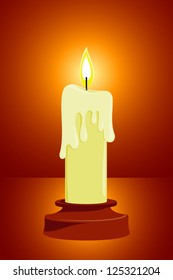 Vector Burning Candle With Dripping Wax