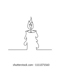 Vector Burning Retro Candles Isolated on White Background. Continuous One Line Hand Drawing