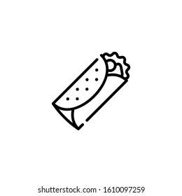Vector burrito icon template. Street fast food symbol illustration. Traditional food logo concept: kebab, sandwich, shawarma, fajita, durum. Creative design for bar, cafe, stall, delivery