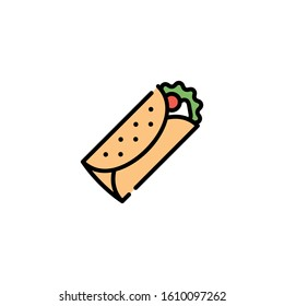 Vector burrito icon template. Traditional food logo concept: kebab, sandwich, shawarma, fajita, durum. Street fast food symbol illustration. Modern design for bar, cafe, stall, delivery
