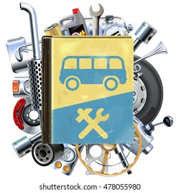 Vector Bus Repair Book with Car Spares