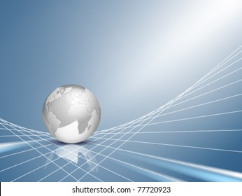 Vector business background - design with light silver grey 3d globe, world map with blue shiny abstract web, network backdrop - technical communication and connection concept