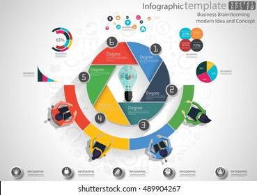 Vector Business Brainstorming modern Idea and Concept illustration Infographic template with lamp, graph,icon.