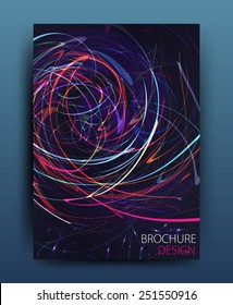 Vector business brochure flyer template or corporate banner design in A4 size.Neon lights on dark background. Modern abstract web, poster ,brochure design template.