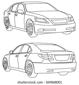 Vector business car line draw  two view
