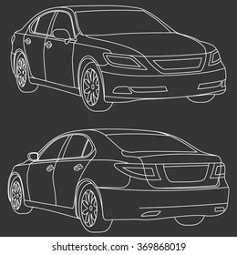 Vector business car line draw illustration two view