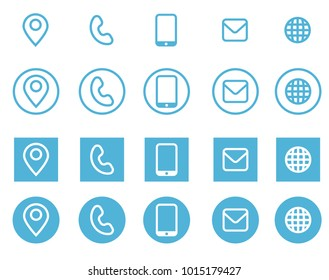 Vector business card contact information icons