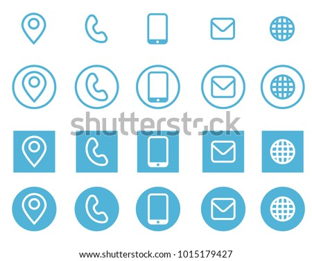Vector Business Card Contact Information Icons Image Vectorielle De
