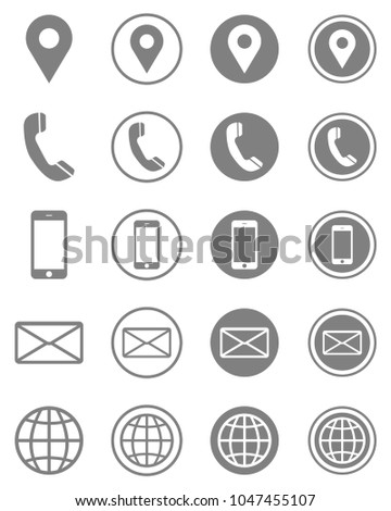Vector Business Card Contact Information Icons Stock Vector Royalty