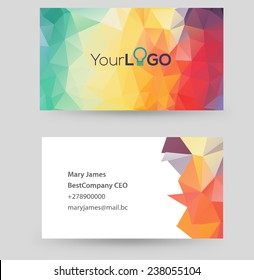 Vector business card design template with triangle design. Can be edited