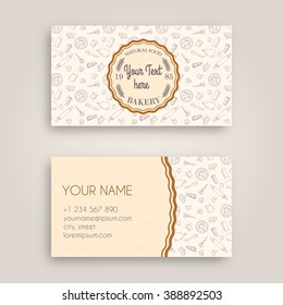 Business card bakery images stock photos vectors shutterstock vector business card design template with doodle bakery hand drawn pattern and vintage bakery emblem reheart Images