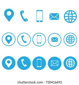 Vector business card information icon set