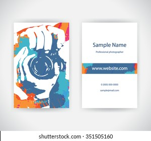 Vector business card for photographer on background with paint splashes. Set template