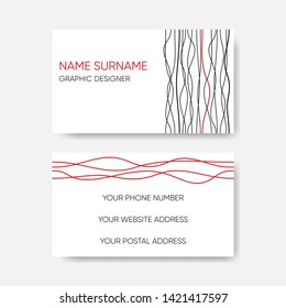 Vector business card template abstract wavy line design