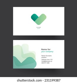 Vector business card template. Abstract geometric template for business card. Editable vector graphic.
