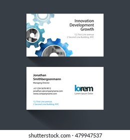 vector business card template with blue gear and polygonal background for engineering construction and hi - Engineer Business Card