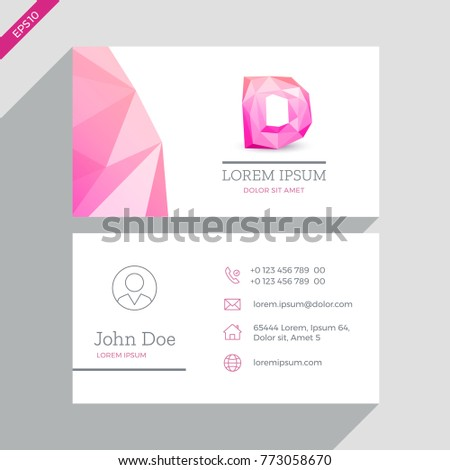 Vector Business Card Template Cute Pink Stock Vector Royalty Free