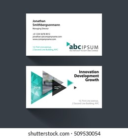 Business card engineering images stock photos vectors shutterstock vector business card template with emerald green flying triangles arrows polygons for engineering reheart Gallery
