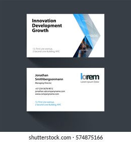 Vector business card template with grey arrows, triangles for eco, business, tech. Simple and clean design. Creative corporate identity layout set with effects.