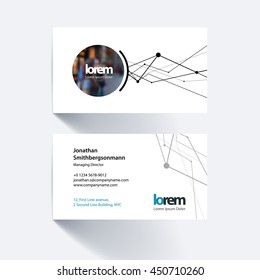 Vector business card template with grid, mesh, dots and lines for business books with communication and connection concept. Simple and clean design. Creative corporate layout.