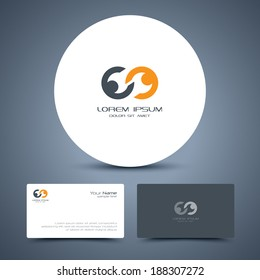 Vector business card template with people icon logo.