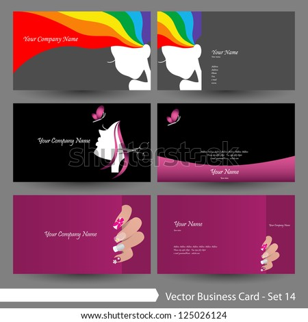 Vector Business Card Template Set Beauty Image Vectorielle De Stock