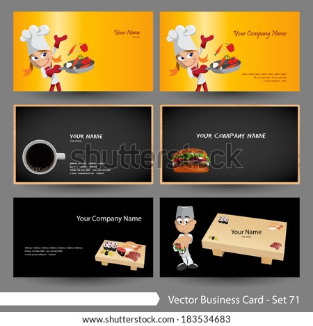 Vector business card template set food stock vector royalty free vector business card template set food beverage sushi burger restaurant theme fbccfo Choice Image