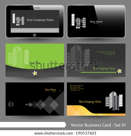 Vector business card template set real stock vector royalty free vector business card template set real estate building flower and computer graphic design wajeb Image collections