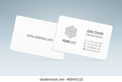 Vector business card template. Sleek business card, with generic company logo, contact information and patterned back side.