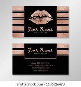 Vector business card template with striped background, geometric frames, lip imprint, rose gold texture.