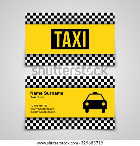 Vector Business Card Template For Taxi Drivers Company Brand Branding Identity